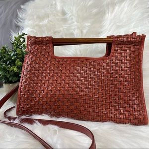 Vintage Leather Fossil Clutch w/ Wooden Handles